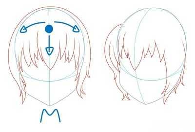 Как рисовать волосы девушки шаг 2