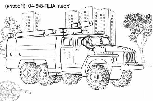 Картинка пожарная машина для детей раскраска – Раскраска ...