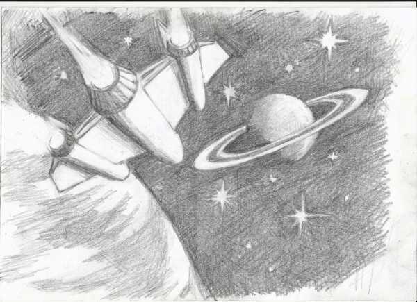 Рисунки космоса и планет карандашом в цвете